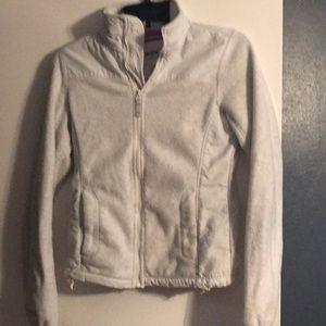 Heathered white long sleeve fleece jacket.